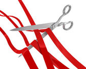 Huge scissors cut many ribbons — Stock Photo