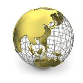 Globo dorato, asia — Foto Stock