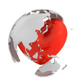Globe with heart, Asian part — Stock Photo