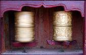 Two Tibetan Buddhist prayer wheels — Stock Photo