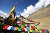 Plenty of colorful Buddhist prayer flags — Stock Photo