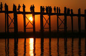 U Bein bridge and at sunset — Stock Photo