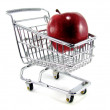 Apple in Shopping Cart — Stock Photo