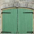 Stock Photo: Double Green Doors