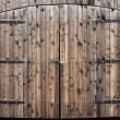 Weathered Wooden Double Door — 图库照片