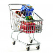 Gifts in Shopping Cart — Stock Photo
