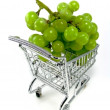 Stock Photo: Green grapes in shopping cart