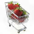 Stock Photo: Strawberries in shopping cart