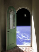 Space Walk through Arched Doorway — Stock Photo