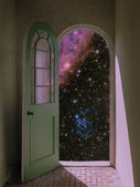 Outer Space through Arched Doorway — Stock Photo
