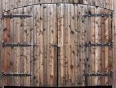 Weathered Wooden Double Door — Stock Photo