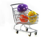 Shopping Cart with Easter Eggs — Stockfoto