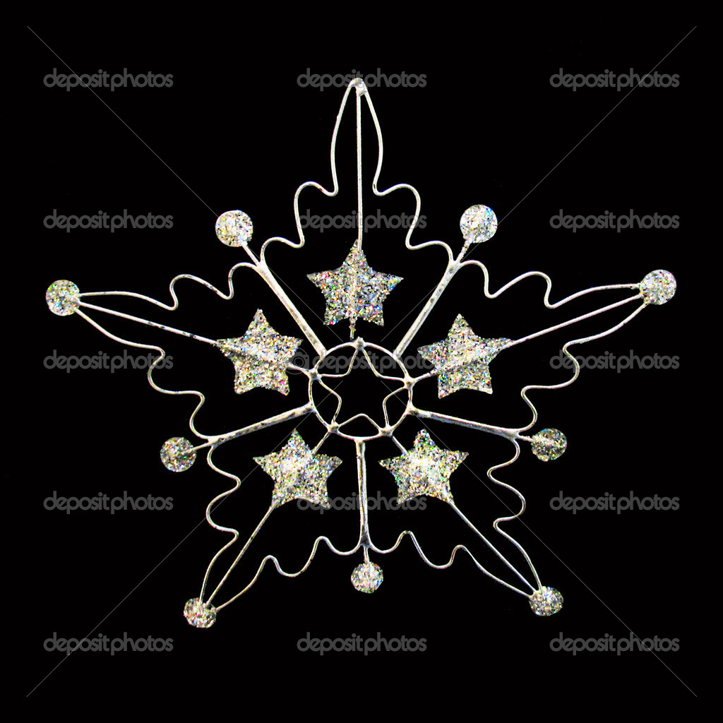 Silver glitter star on black background  Stock Photo #2972648