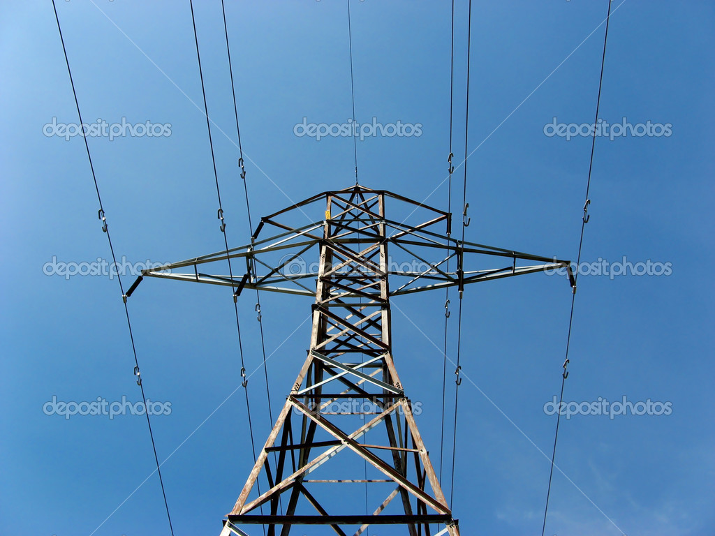 Hydro tower against blue sky — Stock Photo #2972897