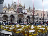 Saint Mark`s Basilica in the rain — Stock Photo