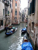 Gondolas on the Venetian channels — Stock Photo