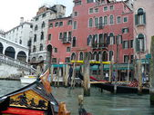 Moorage for gondolas on Grand Canal — Stock Photo
