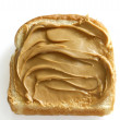 Creamy peanutbutter on white bread — Stock Photo