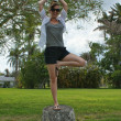 Stock Photo: Outdoor yoga tree pose
