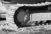 Bulldozer tracks in black and white — Stock Photo