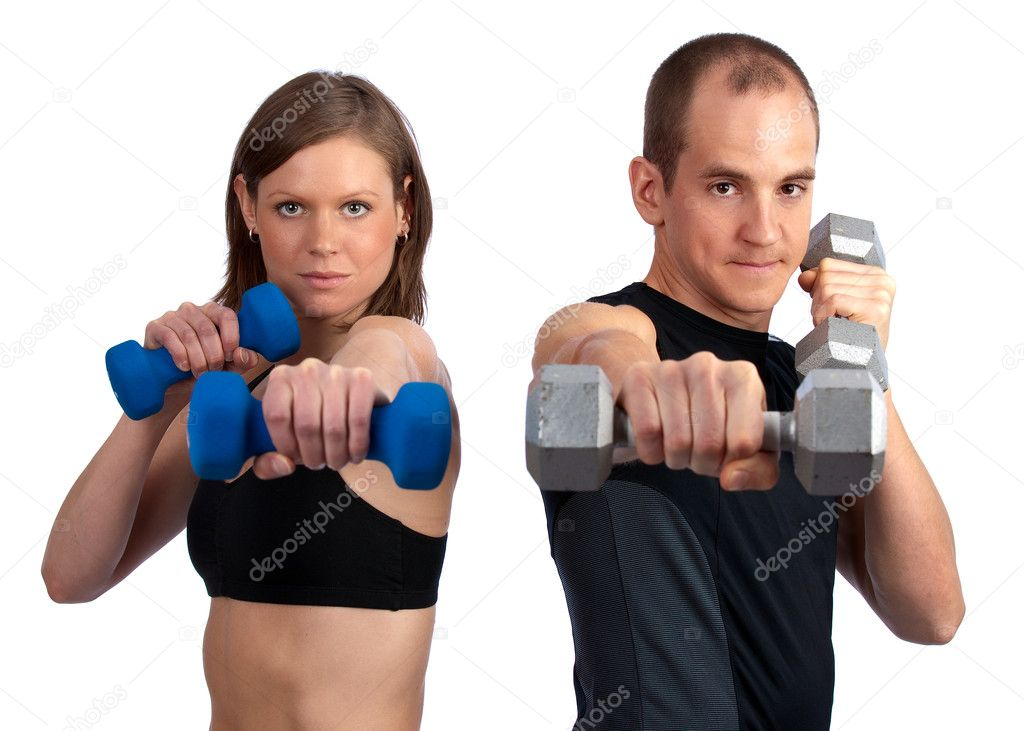 Young, caucasian couple doing boxercise with dumbells — Stok fotoğraf #3044961