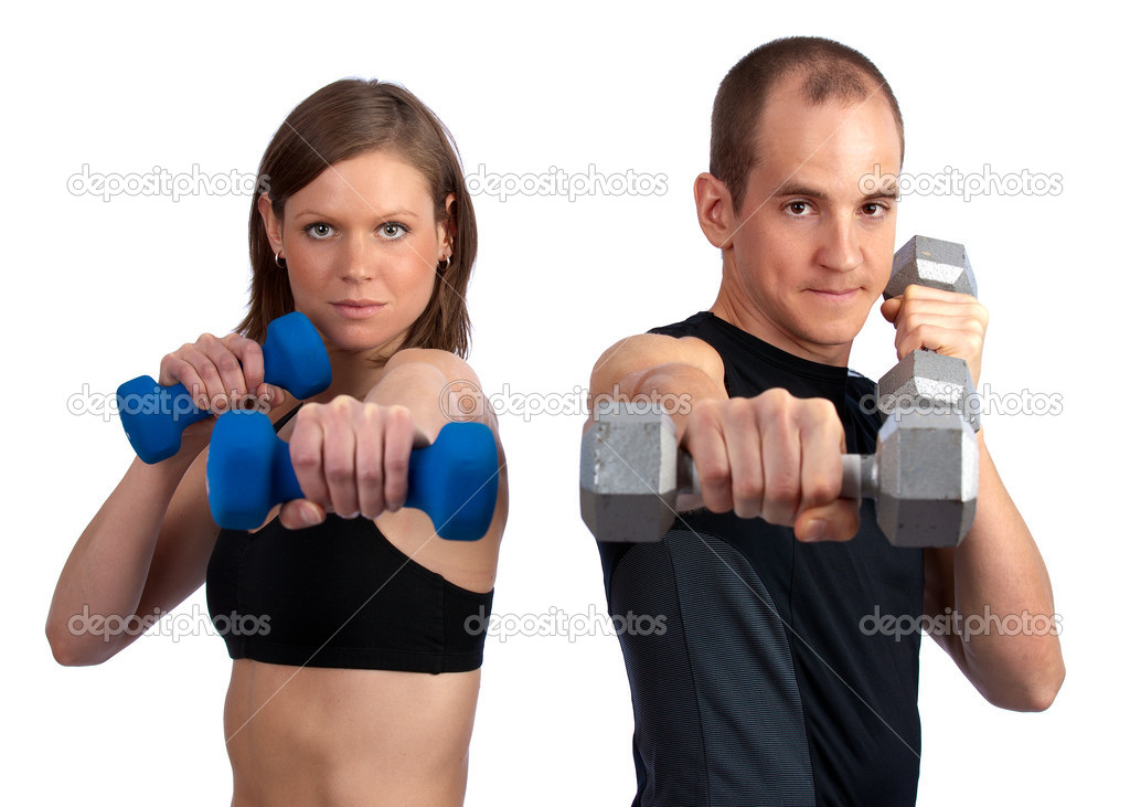 Young, caucasian couple doing boxercise with dumbells   #3044961