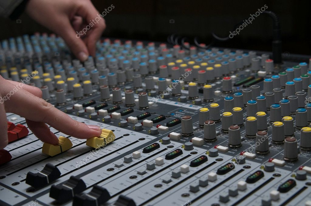 Closeup of the professional music mixer in studio — Stock Photo #2988867