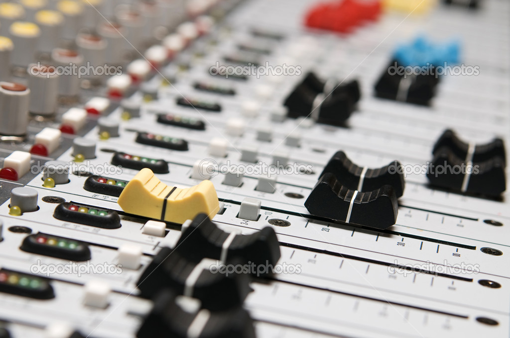 Closeup of the professional music mixer in studio — Stock Photo #3127484
