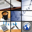 Collage of business or finance - Stock Photo
