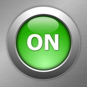 Green on button — Stock Photo