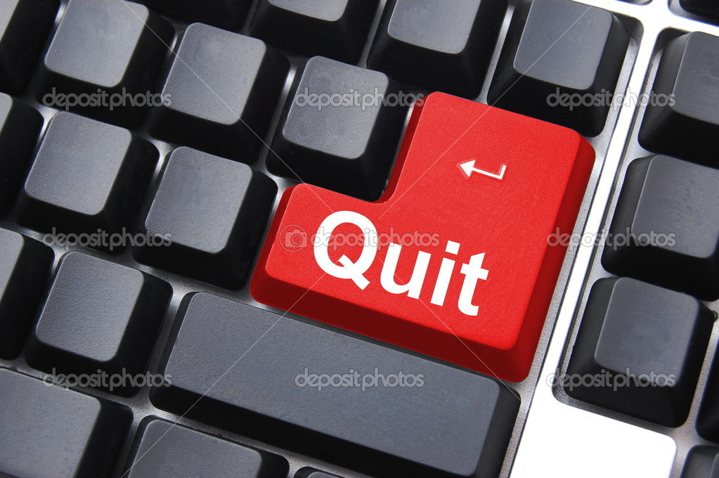 Quit button on black internet computer keyboard                                     — Stock Photo #2988505