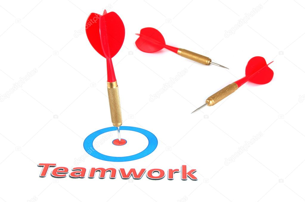 Teamwork concept with isolated dart arrow on white background — Stock Photo #2988639
