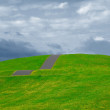 Grassland in summer under cloudy sky - Stock Photo