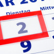 2 calendar day — Stock Photo