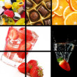 Food and drink collage — Stock Photo