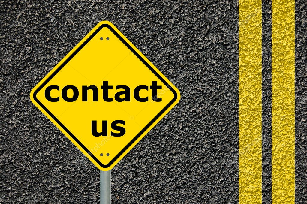 Contact us written on a yellow road sign                                     — Stock Photo #3015290