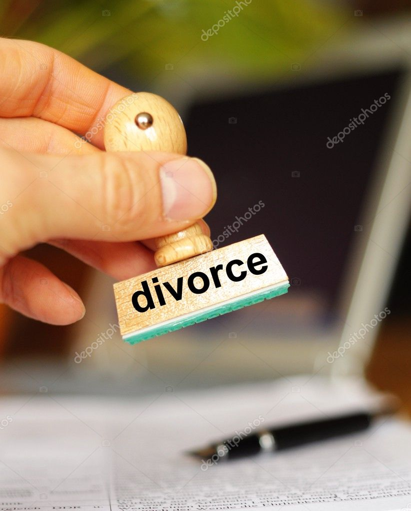Divorce concept with stamp and copyspace in office  Stock Photo #3015427