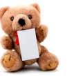 Isolated teddy with blank sheet — Stock Photo #3023539