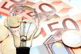 Lamp met zakelijke achtergrond — Stockfoto
