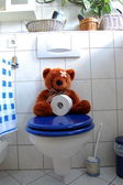 Toy teddy bear on wc toilet — Stock Photo
