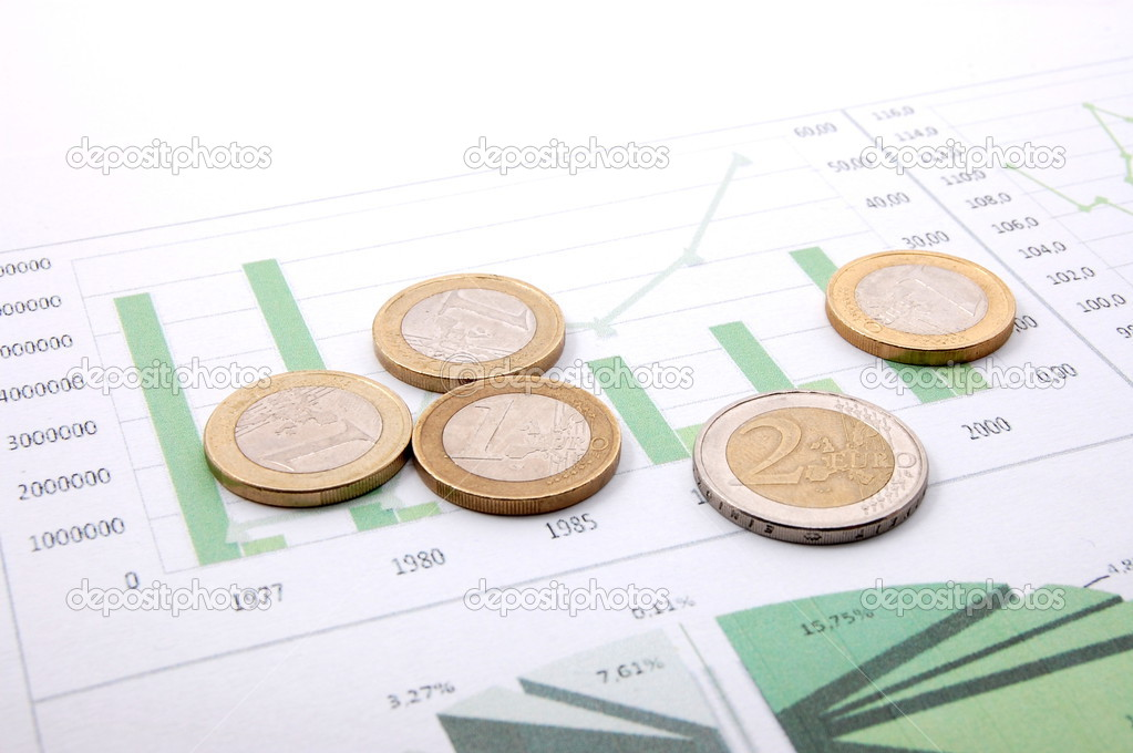 Euro money over business chart showing financial success  — Stock Photo #3027279