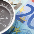 Euro money and compass — Stock fotografie