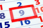 9 calendar day — Stock Photo