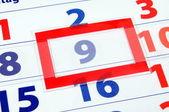 9 kalendářní den — Stock fotografie