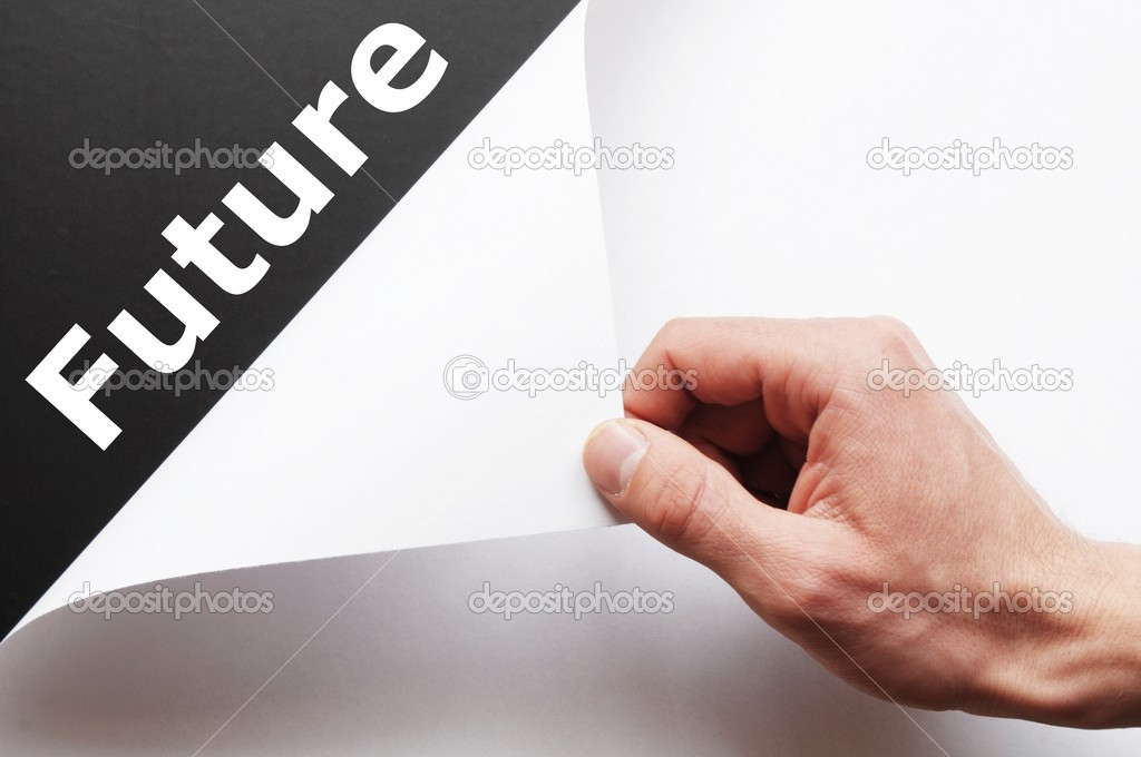 Future concept with hand holding paper with word — Stock Photo #3083303
