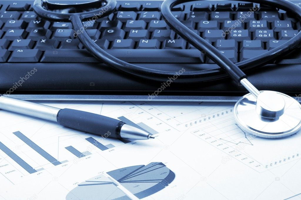 Stethoscope in doctors office showing medical health concept — Stock Photo #3085436