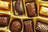 Chocolate truffles in a box — Stock Photo