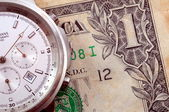 Tijd en geld bedrijfsconcept met ons dollar — Stockfoto