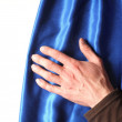 Curtain and blank white copyspace — Stock Photo