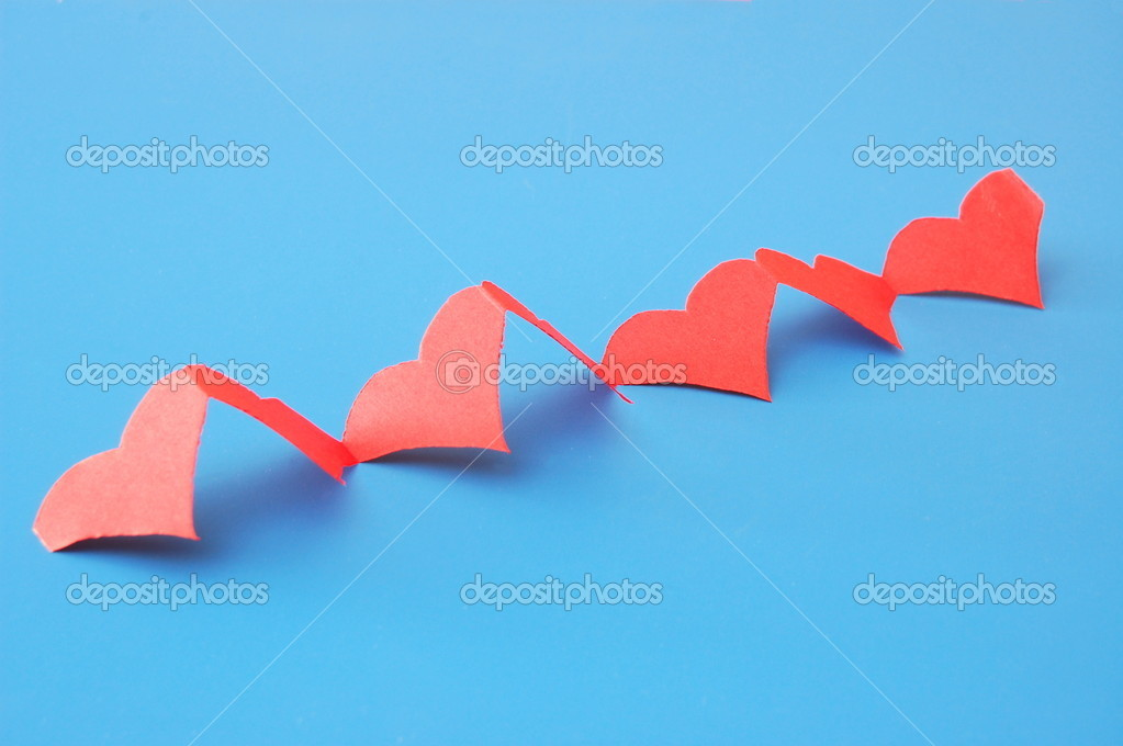 Isolated red hearts showing a concept of love — Stock Photo #3374636